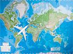 Model aircraft flying over world map Stock Photo - Premium Royalty-Free, Artist: Uwe Umsttter, Code: 693-06435797