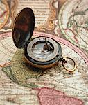 Close-Up of Compass on Map Stock Photo - Premium Rights-Managed, Artist: GreatStock, Code: 873-06440312