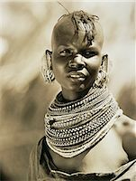 Portrait of Masai Woman Wearing Beads around Neck, Tanzania Stock Photo - Premium Rights-Managednull, Code: 873-06440386