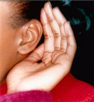 Woman Cupping Ear Stock Photo - Premium Rights-Managednull, Code: 873-06440788