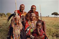 Group Of Masai People in Traditional Dress Stock Photo - Premium Rights-Managednull, Code: 873-06440975