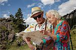 Senior tourist couple looking at map Stock Photo - Premium Royalty-Free, Artist: Aflo Relax, Code: 614-06442463