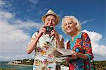 Senior tourist couple with camera and map Stock Photo - Premium Royalty-Free, Artist: Blend Images, Code: 614-06442464