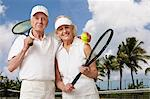 Senior couple ready for tennis Stock Photo - Premium Royalty-Free, Artist: Cultura RM, Code: 614-06442671