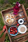 Directly above shot of breakfast served on wooden table Stock Photo - Premium Royalty-Free, Artist: Photocuisine, Code: 698-06443721