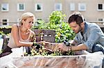 Young couple gardening at urban garden Stock Photo - Premium Royalty-Free, Artist: Blend Images, Code: 698-06444212