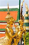 Two gold guardian statues, at the Grand Palace, Bangkok, Thailand, Southeast Asia, Asia Stock Photo - Premium Rights-Managed, Artist: Robert Harding Images, Code: 841-06444995
