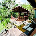 Outdoor area at luxury accommodation near Ubud on the island of Bali, Indonesia, Southeast Asia, Asia Stock Photo - Premium Rights-Managed, Artist: Robert Harding Images, Code: 841-06445044
