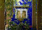 A view through a pergola to ornate windows surrounded by colbalt blue walls at the Majorelle Garden in Marrakech, Morocco, North Africa, Africa Stock Photo - Premium Rights-Managed, Artist: Robert Harding Images, Code: 841-06445511