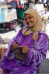 A woman in traditional dress knitting wool hats in the souk, Marrakech, Morocco, North Africa, Africa Stock Photo - Premium Rights-Managed, Artist: Robert Harding Images, Code: 841-06445532