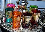 A set of colourful tea glasses for sale in the souk, in Marrakech, Morocco, North Africa, Africa Stock Photo - Premium Rights-Managed, Artist: Robert Harding Images, Code: 841-06445544