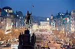 Statue of St. Wenceslas and Wenceslas Square at twilight, Nove Mesto, Prague, Czech Republic, Europe Stock Photo - Premium Rights-Managed, Artist: Robert Harding Images, Code: 841-06446114
