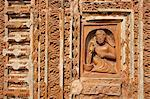 Detail of carved rekha style facade of the 19th century Prataspeswar terracotta temple, built in 1849, Kalna temple complex, West Bengal, India, Asia Stock Photo - Premium Rights-Managed, Artist: Robert Harding Images, Code: 841-06447709