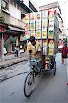 Cycle rickshaw carrying huge load of oil cans through market, Kolkata (Calcutta), West Bengal, India, Asia Stock Photo - Premium Rights-Managed, Artist: Robert Harding Images, Code: 841-06447766