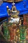 Tea pot and glasses on a tray, Marrakech, Morocco, North Africa, Africa Stock Photo - Premium Rights-Managed, Artist: Robert Harding Images, Code: 841-06447851