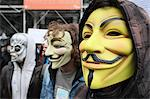 Protestors wearing Guy Fawkes masks, trademark of the Anonymous movement and based on a character in the film V for Vendetta, Paris, France, Europe Stock Photo - Premium Rights-Managed, Artist: Robert Harding Images, Code: 841-06448078