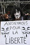 Protestor wearing Guy Fawkes mask, trademark of the Anonymous movement and based on a character in the film V for Vendetta, Paris, France, Europe Stock Photo - Premium Rights-Managed, Artist: Robert Harding Images, Code: 841-06448081