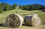 Church and hay bales, Vigo di Fassa, Fassa Valley, Trento Province, Trentino-Alto Adige/South Tyrol, Italian Dolomites, Italy, Europe Stock Photo - Premium Rights-Managed, Artist: Robert Harding Images, Code: 841-06448911