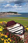 Rowing boat and flower display at South Cliff Gardens, Scarborough, North Yorkshire, Yorkshire, England, United Kingdom, Europe Stock Photo - Premium Rights-Managed, Artist: Robert Harding Images, Code: 841-06449166
