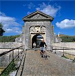 Fortifications and town gate with cyclists, St. Martin, Ile de Re, Poitou-Charentes, France, Europe Stock Photo - Premium Rights-Managed, Artist: Robert Harding Images, Code: 841-06449553