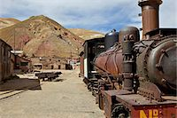steam engine - The old mining ghost town of Pulacayo, Industrial Heritage Site, famously linked to Butch Cassidy and the Sundance Kid, Bolivia, South America Stock Photo - Premium Rights-Managednull, Code: 841-06449703