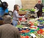 vendors sell vegetables at village farmers market, Cortona, Tuscany, Italy Stock Photo - Premium Rights-Managed, Artist: Michael Mahovlich, Code: 700-06452064