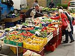vendors sell vegetables at village farmers market, Cortona, Tuscany, Italy Stock Photo - Premium Rights-Managed, Artist: Michael Mahovlich, Code: 700-06452073