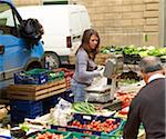 vendors sell vegetables at village farmers market, Cortona, Tuscany, Italy Stock Photo - Premium Rights-Managed, Artist: Michael Mahovlich, Code: 700-06452074
