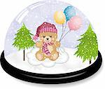 Scalable vectorial image representing a cute teddy bear snowdome, isolated on white. Stock Photo - Royalty-Free, Artist: socris79                      , Code: 400-06452931