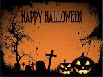 Halloween background with spooky pumpkins and graveyard Stock Photo - Royalty-Free, Artist: kirstypargeter                , Code: 400-06454184