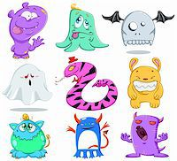 A vector illustration of cute funny and scary monsters for Halloween. Stock Photo - Royalty-Freenull, Code: 400-06454930
