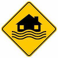 flooded homes - House and waves on yellow sign isolated on white background Stock Photo - Royalty-Freenull, Code: 400-06455177