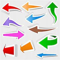 Colored Arrows Set - Vector Illustration Stock Photo - Royalty-Freenull, Code: 400-06455925
