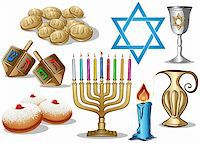 A pack of Vector illustrations of famous symbols for the Jewish Holiday Hanukkah. Stock Photo - Royalty-Freenull, Code: 400-06455997