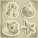 christmas set, this illustration may be useful as designer work Stock Photo - Royalty-Free, Artist: Lady_Aqua                     , Code: 400-06456006