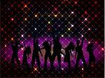 Silhouettes of people dancing on a disco lights background
