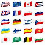 Set World flags icons. Illustration on white Stock Photo - Royalty-Free, Artist: dvarg                         , Code: 400-06456611