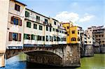 Italy, Florence. View of Ponte Vecchio, the main landmark of the city Stock Photo - Royalty-Free, Artist: Perseomedusa                  , Code: 400-06457105