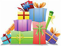 A vector illustration of a pile of gift boxes wrapped for the holidays. Stock Photo - Royalty-Freenull, Code: 400-06457151