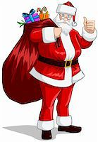 A vector illustration of Santa Claus holding a huge bag full of presents for Christmas. Stock Photo - Royalty-Freenull, Code: 400-06457152