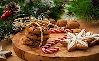 Christmas nut and chocolate cookies with candy cane Stock Photo - Royalty-Freenull, Code: 400-06457289