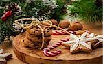 Christmas nut and chocolate cookies with candy cane Stock Photo - Royalty-Free, Artist: Brebca, Code: 400-06457289