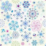 Christmas seamless pattern with colorful snowflakes (vector) Stock Photo - Royalty-Free, Artist: OlgaDrozd                     , Code: 400-06458201