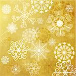 Old yellow christmas paper with stylization lacy snowflakes Stock Photo - Royalty-Free, Artist: OlgaDrozd                     , Code: 400-06459134