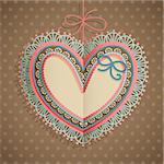 Valentine`s Day vintage card with heart and place for text. Stock Photo - Royalty-Free, Artist: avian                         , Code: 400-06460895