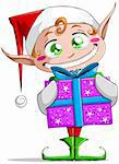 A vector illustration of a Christmas elf holding a present and smiling. Stock Photo - Royalty-Free, Artist: LironPeer, Code: 400-06462881