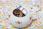 Sugar Bowl Filled with Euro Coins and Paper Money Stock Photo - Premium Rights-Managed, Artist: Ursula Klawitter, Code: 700-06465387