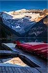 Red Canoes on Dock at Dawn, Lake Louise, Banff National Park, Alberta, Canada Stock Photo - Premium Rights-Managed, Artist: R. Ian Lloyd, Code: 700-06465425