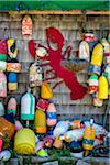 Buoys and Red Lobster Cut-Out Hanging on Outer Wall of Building, Southwest Harbor, Mount Desert Island, Maine, USA Stock Photo - Premium Rights-Managed, Artist: R. Ian Lloyd, Code: 700-06465725