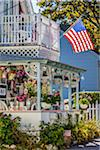 House with Many Hanging Planters and American Flag, Wesleyan Grove, Camp Meeting Association Historical Area, Oak Bluffs, Martha's Vineyard, Massachusetts, USA Stock Photo - Premium Rights-Managed, Artist: R. Ian Lloyd, Code: 700-06465752